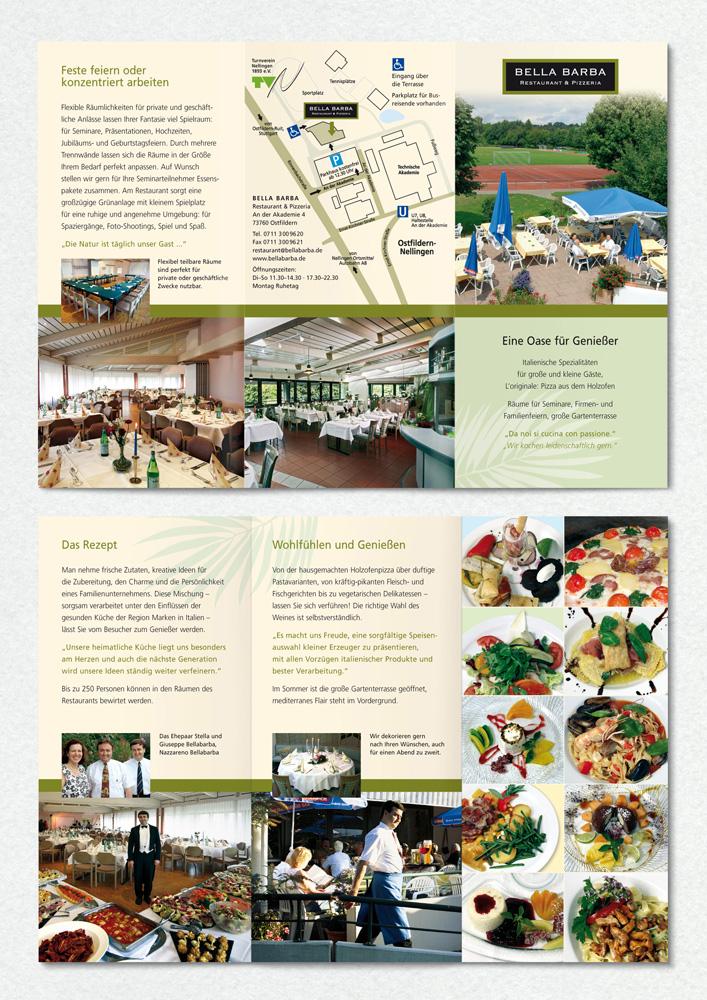 Familienrestaurant Bellabarba, Faltflyer