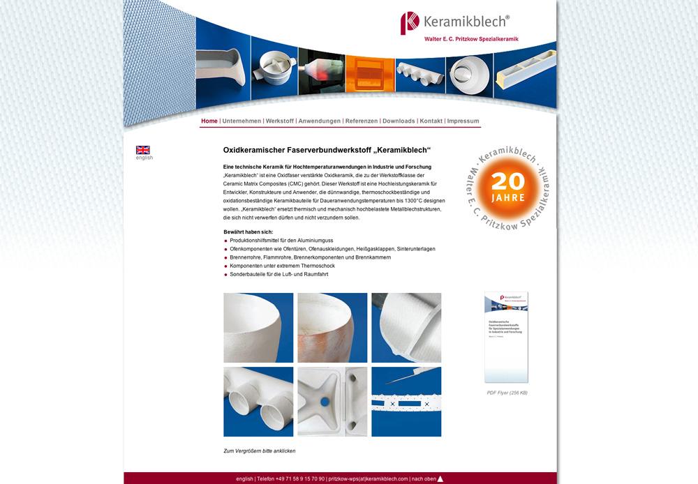 Konzept, Gestaltung, Einpflege: www.keramikblech.com
