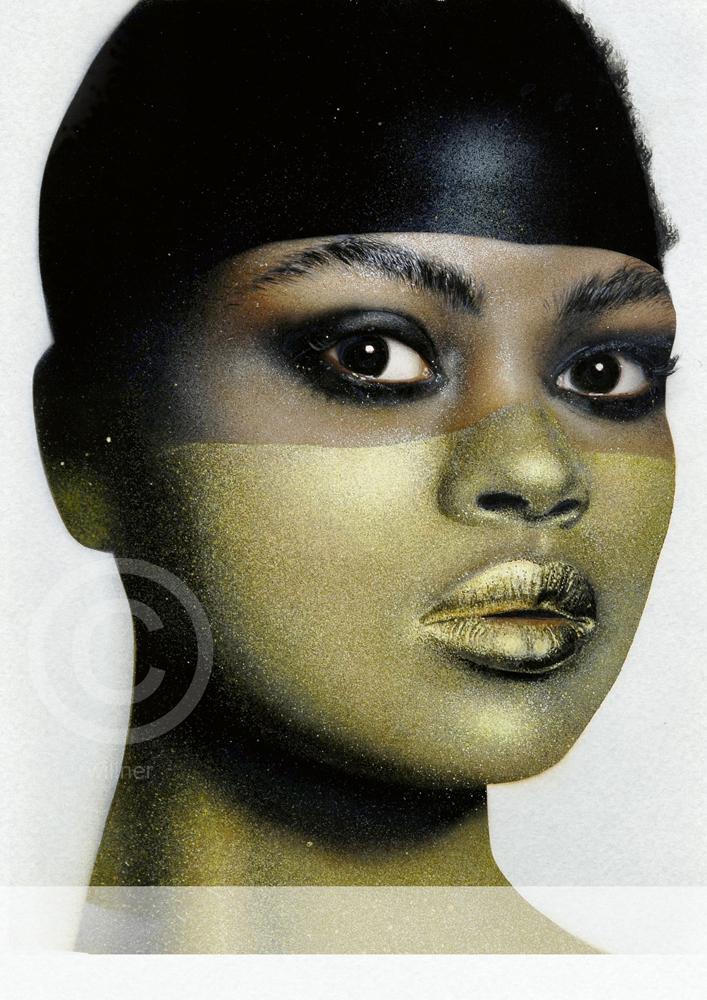 Studienarbeit, Airbrush auf Karton, Farbe Gold aus 4 Farben gesprenkelt