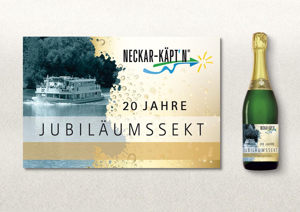Sektetikett Gestaltung (Neckarschifffahrt)