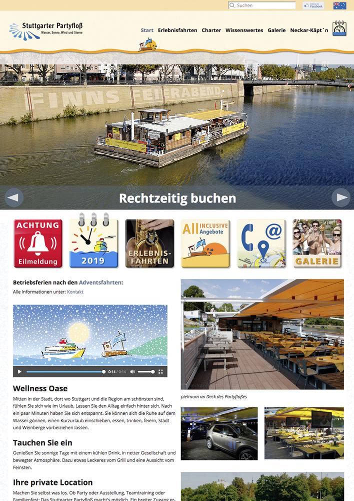 Webseite Partyfloß bis zum Verkauf des Unternehmens Anfang 2020, partyfloss.com