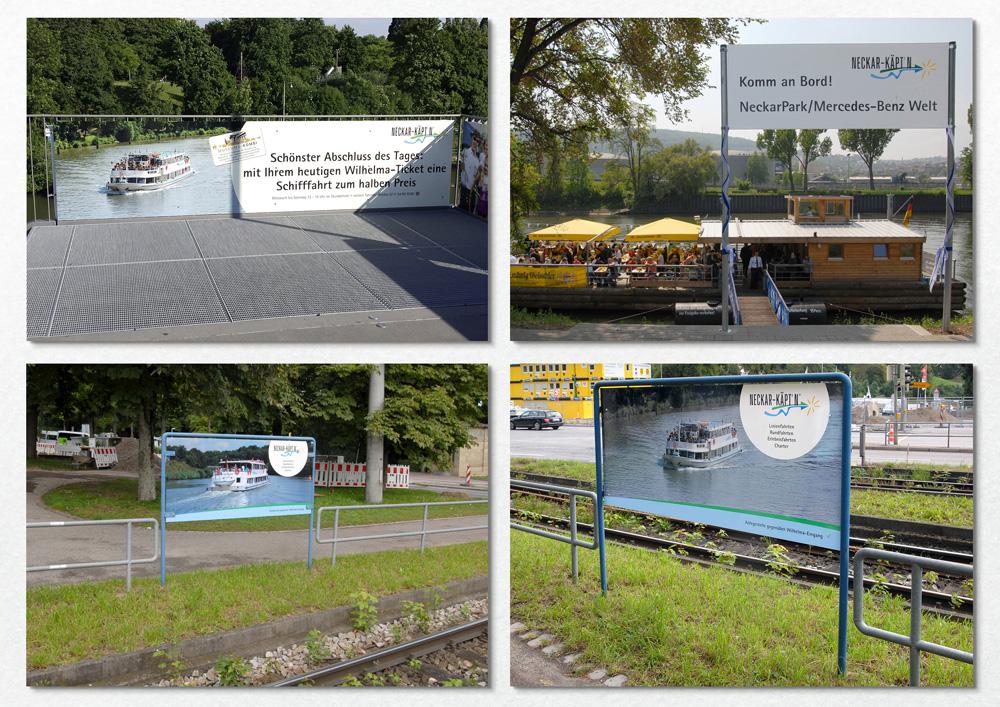 Schilder Baustelle S-21, auf dem neuen Steg Wilhelma, Anlegestelle NeckarPark