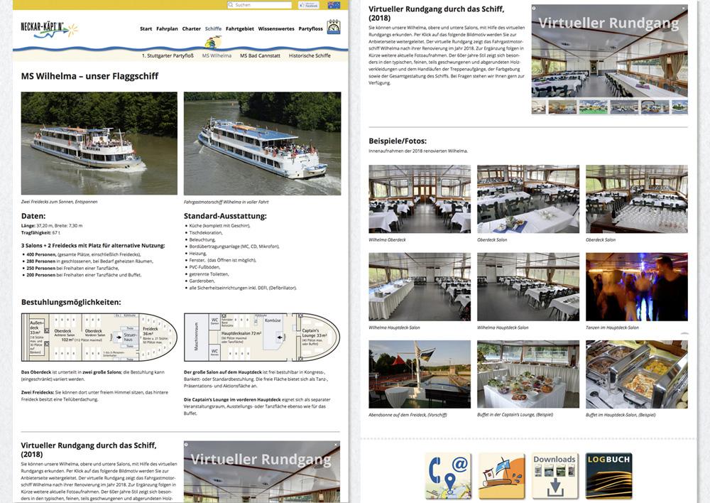 neckar-kaeptn.de, – Schiffsbeschreibung mit Grundrissen und Maßen für exakte Planungen der Gäste