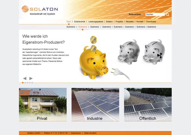 Solaton Webseitengestaltung, Entwurf